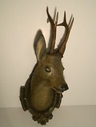 Antique Life Size Painted Plaster Deer Head Hunting Black Forest Austrian