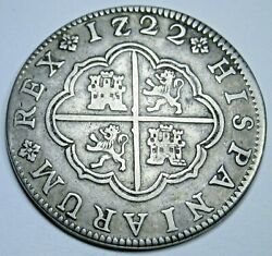1722 Rare 7/2 Variety Spanish Segovia 2 Reales Antique Silver 1700's Pirate Coin