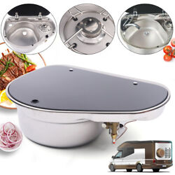 Boat Rv 1 Burner Gas Sink Stove With Glass Lid + Faucet 520425145mm Gr-600l Us
