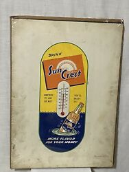 Vintage Rare Drink Sun Crest Thermometer Cardboard Advertising Sign