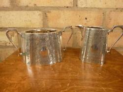 Nice Engraved Antique Walker And Hall Sugar Bowl And Milk Jug Silver Plated