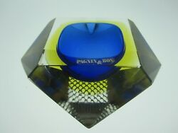 Murano Op-art Faceted Geode Bowl In Blue, Amber And Clear In Vgc. W/label Ref.535