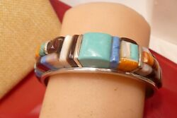 Tom Kidd Cuff Bracelet Turquoise Opal Inlaid Sterling Silver Native M O Pearl