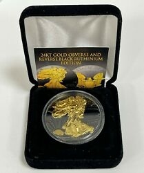 2017 Black Ruthenium 1 Oz 999 Silver American Eagle Coin 24k Gold Gilded 2-sided