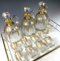 Exq Antique French Liqueur Service Baccarat 3 Carafe 9 Cups Tray Gold Enamel