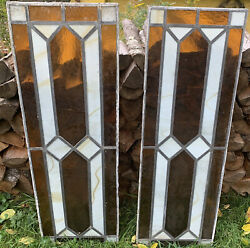 """Pair Of Antique Late 1800 Lead Stain Glass Windows 48"""" Tall"""