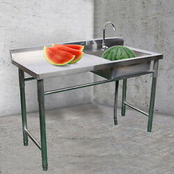 Freestanding Wash Sink Catering Kitchen Stainless Steel Basin Operating Table Us