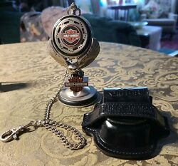 Collectible Franklin Mint Harley Davidson Pocket Watch Stand And Leather Pouch