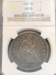 1849 Seated Liberty Dollar Ngc Au55 Very Rare Low Mintage And Better Date