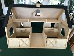 Large Breyer Horse Barn - Toy Wooden Barn Painted Roof. Operable Doors.