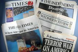 9/11 Uk Newspaper Collection 11 September 2001 Attacks Nyc Twin Towers