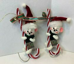 """Lot Of 2003 Annalee 6"""" Santa Mouse On Candy Cane Christmas Ornament Figures"""