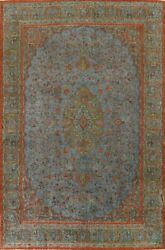 Antique Overdyed Floral Traditional Oriental Area Rug Hand-knotted Wool 10x13 Ft