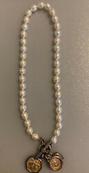 Slane And Slane Sterling Silver Pearl Toggle Clasp Necklace With 3 Charms