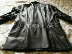 Ruffo Leather Half Coat Color Black Men Made In Italy Condition Good Size L Used