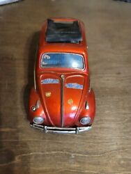 Vintage Red Volkswagen Vw Bug Sign Of Quality Made In Japan Tin Toy 11