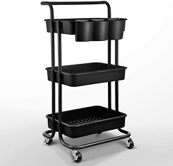 Asoopher 3-tier Rolling Utility Cart, Storage Shelves Organizer, Coffee Bar With