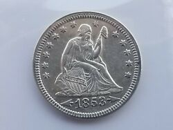 1853 Seated Liberty Quarter Arrows And Rays