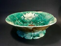 Antique Majolica Lotus Pond Lily Footed Bowl Centerpiece