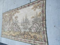 Vintage Tapestry Large Wall 60quot; x110quot; Hanging With Leisure Ladies And Cherubs