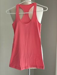 Lululemon Womenand039s Size 2 Or 4 Cool Racerback Athletic Tank Top Orange Coral Pink