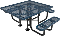 Coated Outdoor Furniture Tsqh-dbl Top Square Portable Picnic Table, Handicap Acc