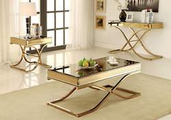 Furniture Of America Dorelle 3-piece Contemporary Glass Top Accent Tables Set, B
