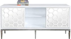 Meridian Furniture Zoey Collection Modern | Contemporary Mirrored Sideboard Buff