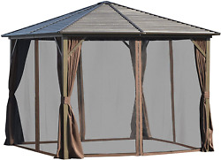 Outsunny 10and039 X 10and039 Outdoor Hardtop Patio Gazebo Steel Canopy With Aluminum Frame