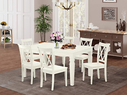 7pc Rectangular 42/60 Inch Table With 18 In Leaf And 6 Double X Back Chairs