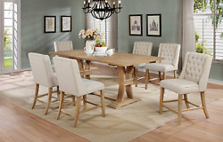 Best Quality Furniture 7 Piece Counter Height Dining Furniture Set, Beige