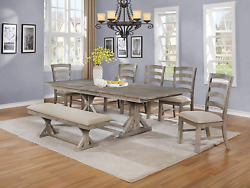Best Quality Furniture 7pc Dining Set 1 Table + 1 Bench + 5 Chairs Beige
