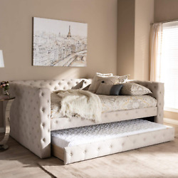 Baxton Studio Anabella Modern And Contemporary Light Beige Fabric Upholstered Qu