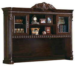 Tucker Computer Hutch With Detailed Carvings Brown
