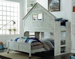 Donco Kids Club House Tall Loft Bed Twin Brushed Driftwood