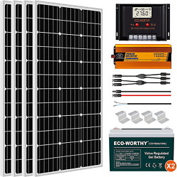 Eco-worthy 400w 24v Complete Solar Panel Kit With Controller, Battery And Invert