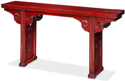 China Furniture Online Elmwood Chinese Altar Style Console Table Distressed Red