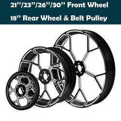 21/23/26/30and039and039 Front 18and039and039 Rear Wheel Rim Belt Pulley Fit For Harley Road King 08+
