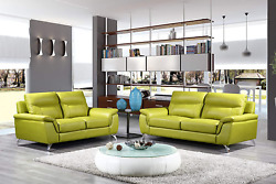 Cortesi Home Chicago Leather Sofa And Loveseat Set, Loveseat And Sofa, Green