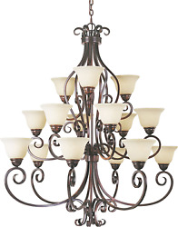 Maxim 12209fioi Manor Frosted Ivory Glass Bowl Large Chandelier, 15-light 900 To