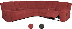 Classic And Traditional Bonded Fabric Manual Reclining Corner Sectional Sofa W/c