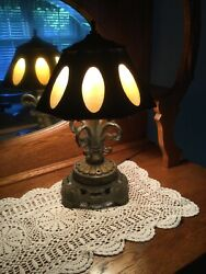 1970s Ef And Ef Industries Brass Lamp With Slag Glass Inserts Shade