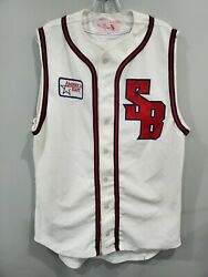 Vtg 80s Goodman And Son America East Stony Brook Seawolves Game Worn Jersey 44 L