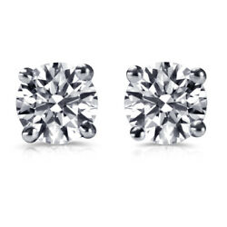 Andpound12850 Real 4.05 Carat Diamond Earrings For Guys 14ct White Gold I2 63151671