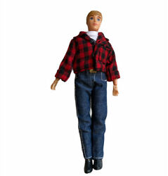 BREYER Articulated Boy Doll With Plaid Shirt Jeans Boots Metal Belt Buckle