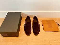 Edward Green Bath Papper Calf Suede Loafers Dark Brown Shoes Uk 8 Eu 42 Andpound1050