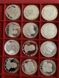 Series 12 Medals Astronauts Famous 25 Gr Each Silver 925 Subalpina
