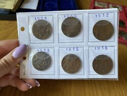 Series 6 Coins Kingdom D'italia 5 Cent -forward Years From 1908 A 1918 Aa