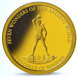 Solomon Islands 10 2009 Gold Proof And039ancient 7 Wonders - Colossus Of Rhodesand039