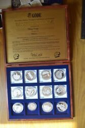 Box With 12 Medals Silver Pure 999 Germany Gode Besitzurkunde